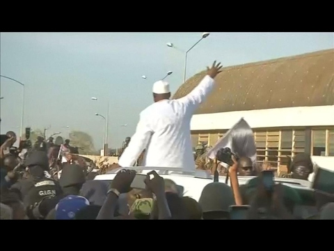 New Gambian president Adama Barrow gets hero's welcome in Banjul