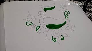 Beautiful freehand peacock design happy independence day rangoli design