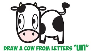 How to Draw a Cow (Cartoon Kawaii) for Kids Easy Step by Step Drawing Tutorial