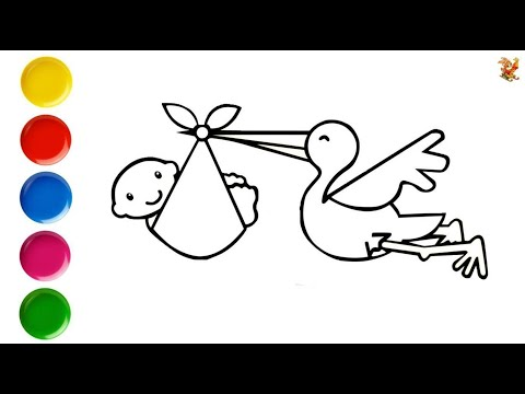 Раскраска для детей АИСТ С МАЛЫШОМ. Мультик-раскраска. Учим цвета