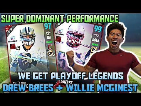 PLAYOFF LEGENDS DREW BREES & WILLIE MCGINEST ARE BEASTS! BEST PERFORMANCE! MADDEN 17 ULTIMATE TEAM