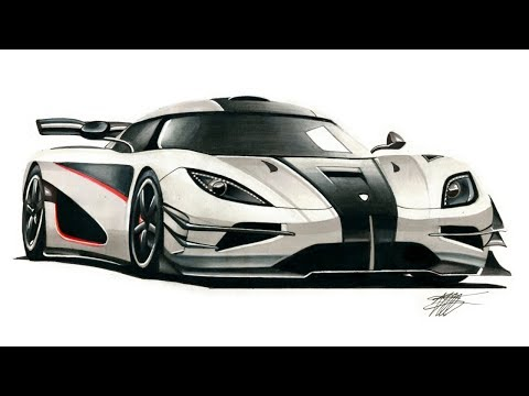 Realistic Car Drawing - Koenigsegg One:1 - Time Lapse