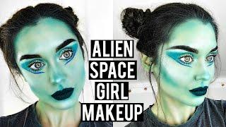 Alien / Space Girl Halloween Makeup Tutorial - Cute & Easy | KatesBeautyStation