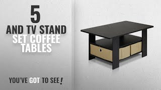 Top 10 And Tv Stand Set Coffee Tables [2018]: Furinno 11158EX/BR Coffee Table with Bins,