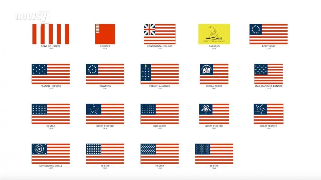 the evolution of us flags in 80 seconds youtube