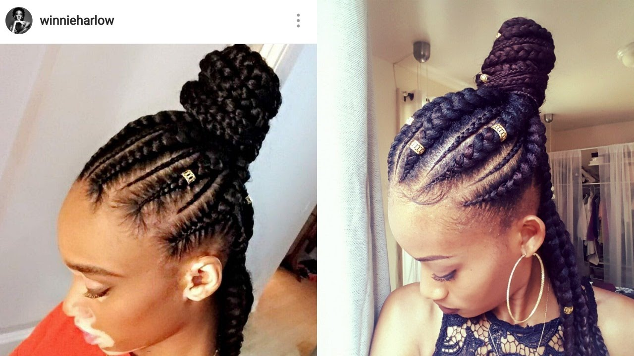 How To Jumbo Braids Half Up Half Down Ghana Braids Feed In Braids
