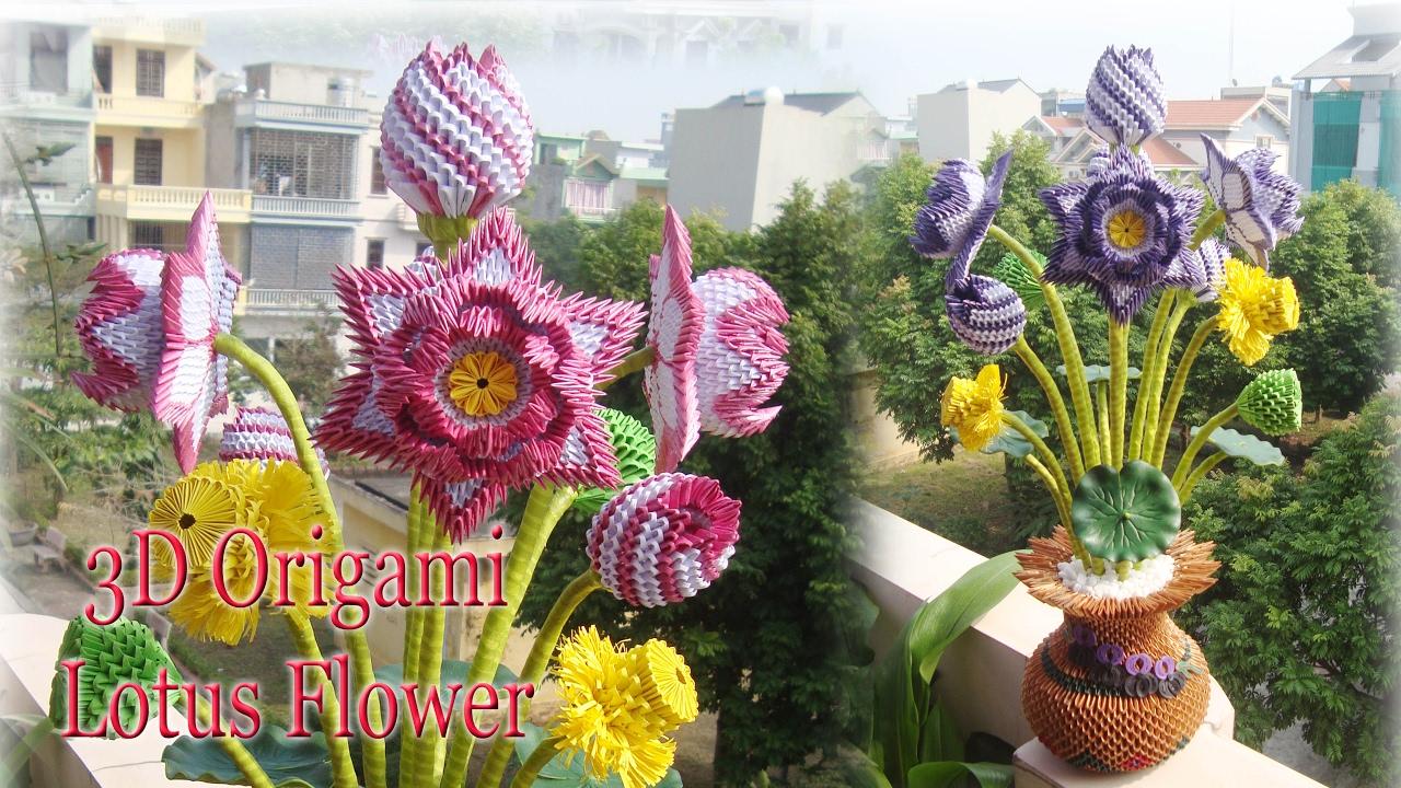 3d Origami Lotus Flower Paper Lotus Flower Handmade Decoration
