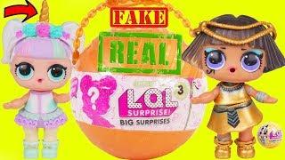 Unicorn and Pharaoh Babe Open Giant Fake Ball + Babysit LOL Surprise Dolls Punk Boi