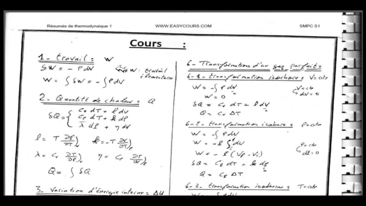resume cours thermodynamique pdf