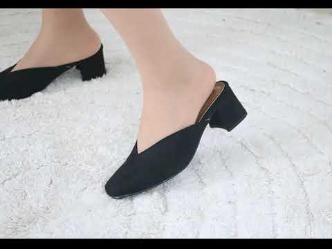 스웨이드 백오픈 5cm 하이힐 슬리퍼 뮬 Suede back open 5cm high heel slipper mule