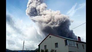 Северо-Курильск, извержение вулкана Эбеко