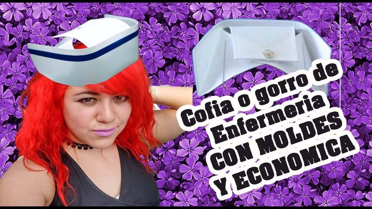 COMO HACER UNA COFIA O GORRO DE ENFERMERA REAL CON MOLDES - YouTube