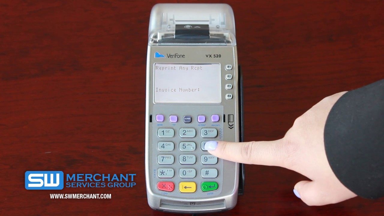 how to re-print receipt  u0026 invoice number vx520