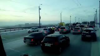 Массовое ДТП на мосту у Арены Омск (09.01.2018)
