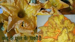 कद्दू के फुल के पकौड़े | pumpkin flower pakora| how to make pumpkin flower fritters|