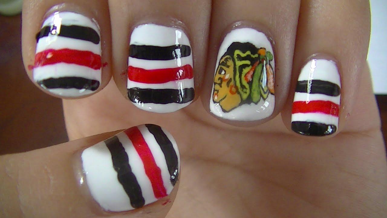 Chicago Blackhawks Nail Art - YouTube