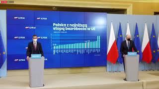Konferencja prasowa premiera Mateusza Morawieckiego i ministra Jarosława Gowina