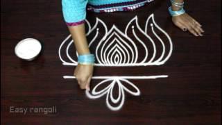 creative and easy lotus rangoli designs || freehand lotus kolam designs || easy rangoli designs