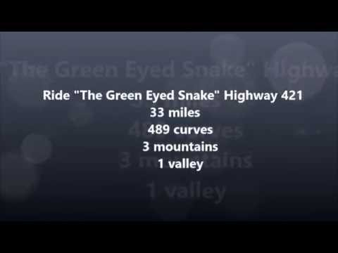 """Ride """"The Green Eyed Snake"""" Highway 421"""