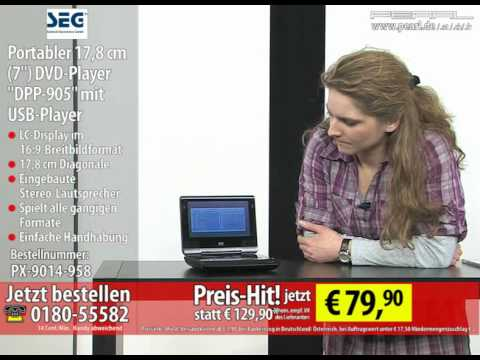 "SEG Portabler 17,8 cm (7"") DVD-Player ""DPP-905"" mit USB-Player"
