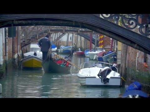 Gondola Sailing Through Water Canal  Stock Video