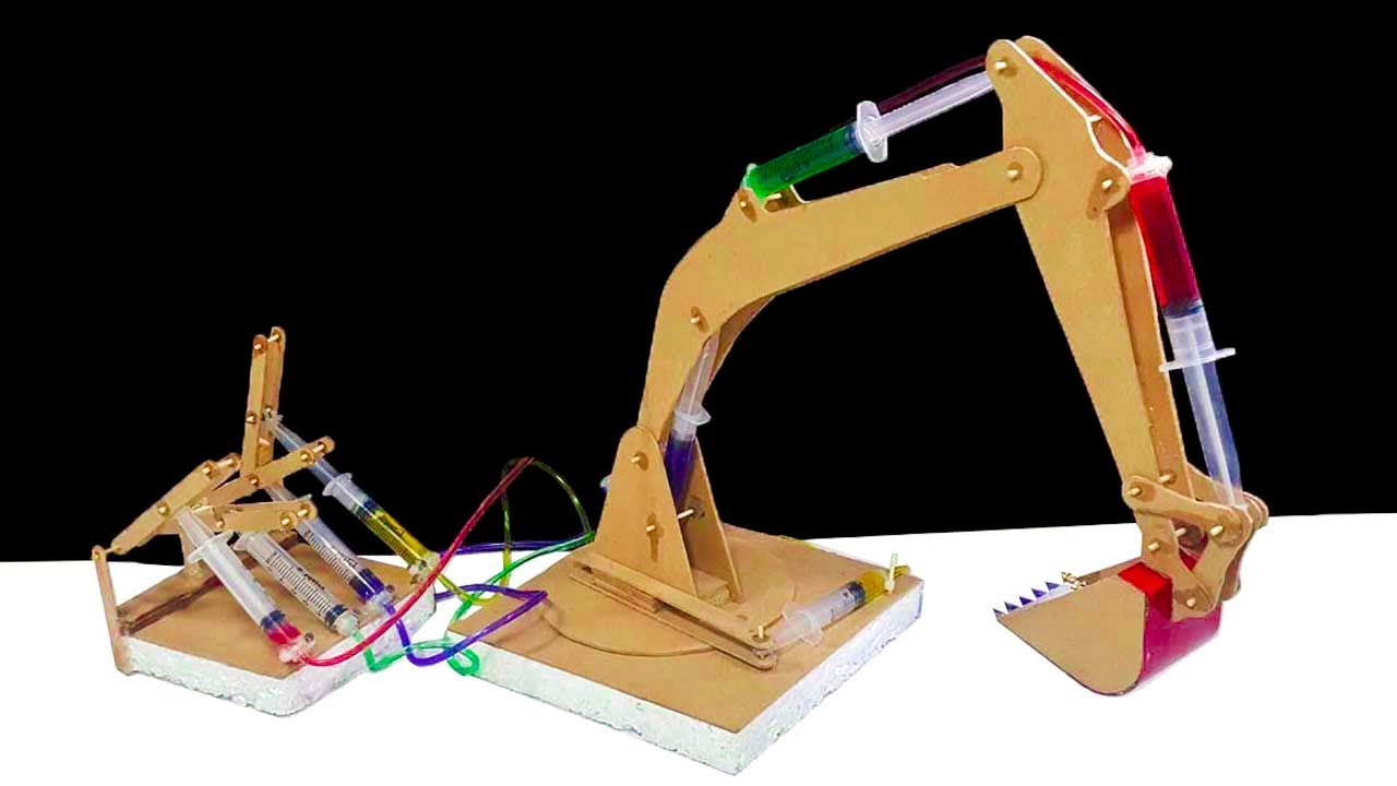 Excavator Hydraulic Arm Project : How to make a remote control hydraulic excavator jcb at