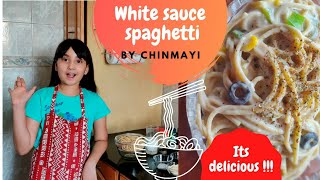Easy recipe for making white sauce spaghetti. Kids friendly cooking. White sauce pasta.