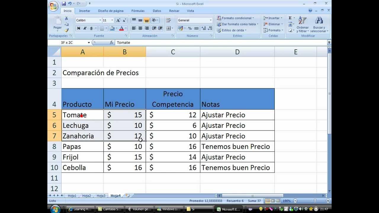 Funcion Si Excel 2007 Comparacion De Precios