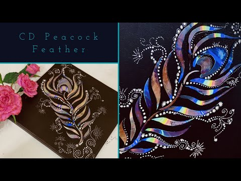Latest CD Craft Ideas- CD Peacock Feather on Canvas/ CD WallHanging #nimakiran #cdcraft #cdcraftidea