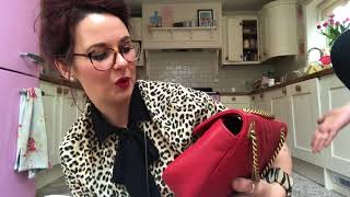 26adbd99cced Unboxing of my preowned designer handbag ooooo Gucci or Louis Vuitton in  hibiscus red eeek wow