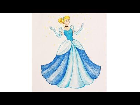 Уроки рисования. Как нарисовать Золушку (Cinderella)  цветными карандашами | Art School
