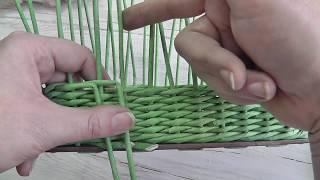 Простая веревочка с закрытием ряда. Плетение из газетных трубочек
