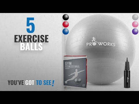 "Top 10 Exercise Balls [2018]: Proworks Anti-Burst Exercise Ball 65cm / 25.5"" Heavy Duty Fitness"