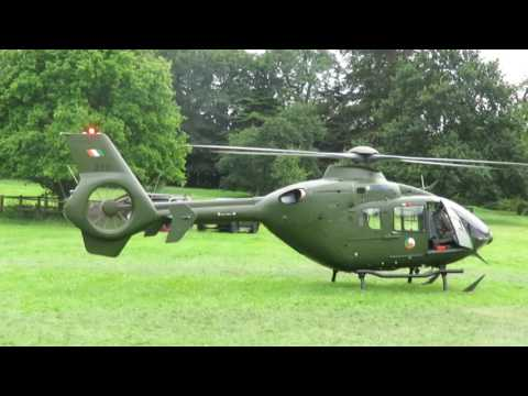 Irish defence forces helicopter taking off for skydiving