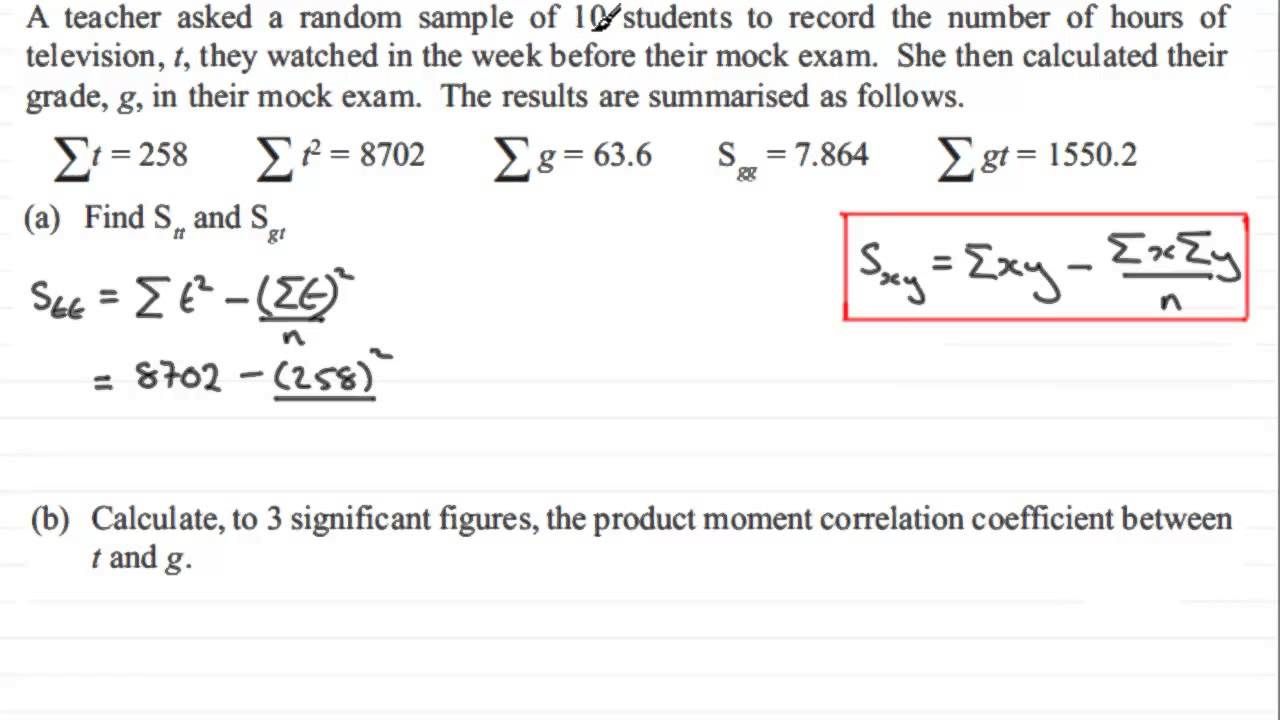 Product moment correlation coefficient s1 edexcel january 2013 product moment correlation coefficient s1 edexcel january 2013 q1ab examsolutions maths ccuart Images