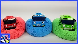 Pj Masks Tayo Garage Play In Kinetic Sand Toy For Kids. Learn Color With Beads [Jjtoy Tv]