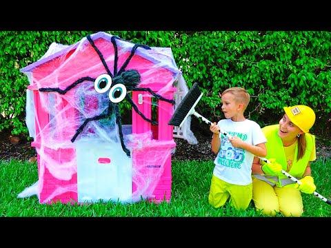 Vlad and Mama repairing children's playhouses