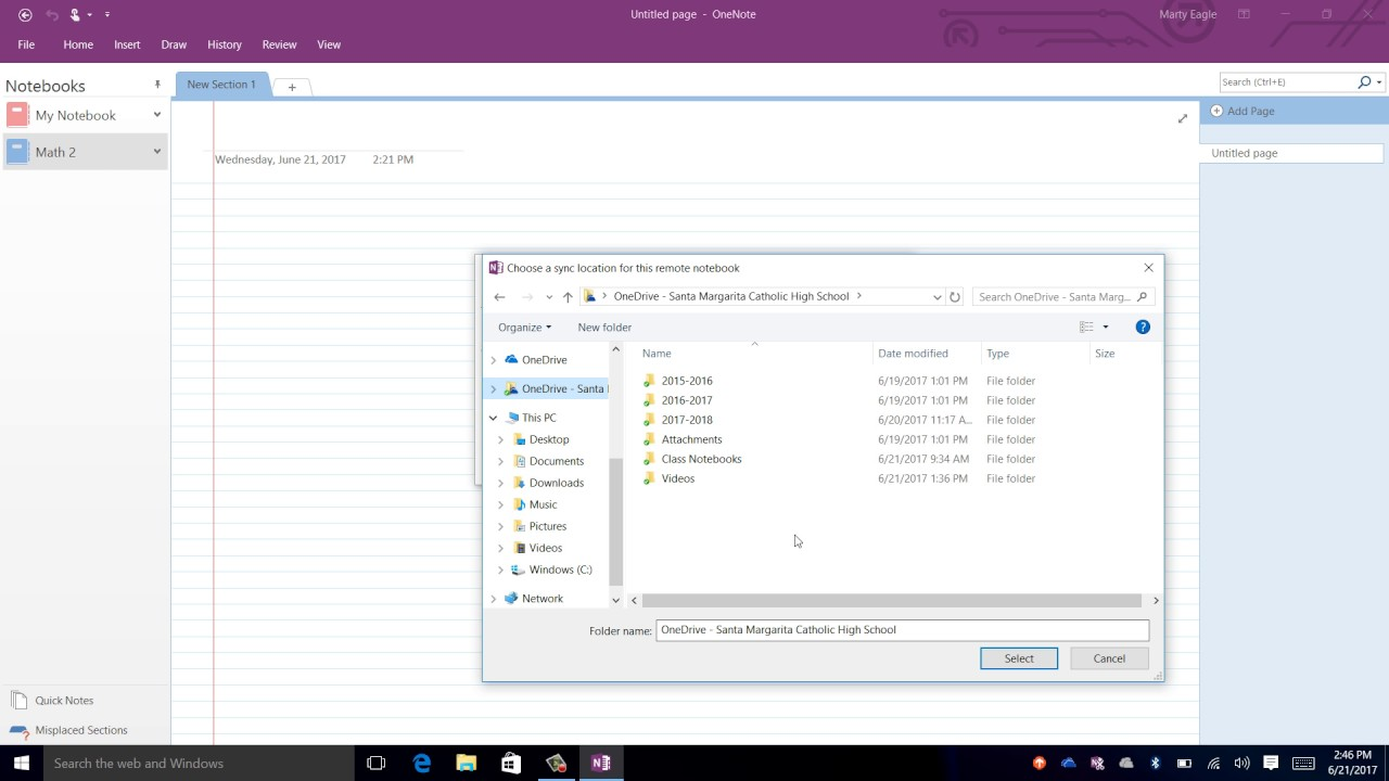 Office365 - (ONENOTE) How to Move a Notebook into OneDrive for Business W10