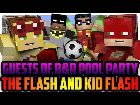 Minecraft Pool Party: Kid Flash and Robin vs Flash and Batman!