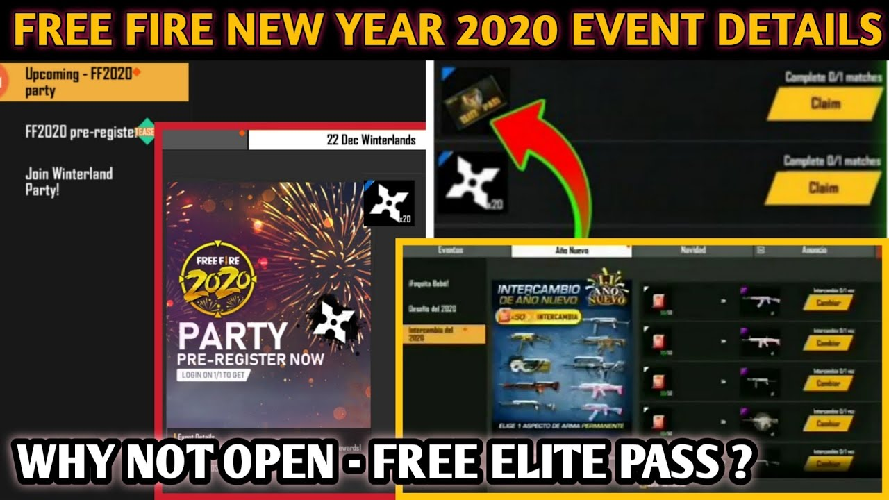 Free Fire New Year 2020 New Event Full Details Ff 2020 Event Claim Elite Pass By Class Gaming Youtube