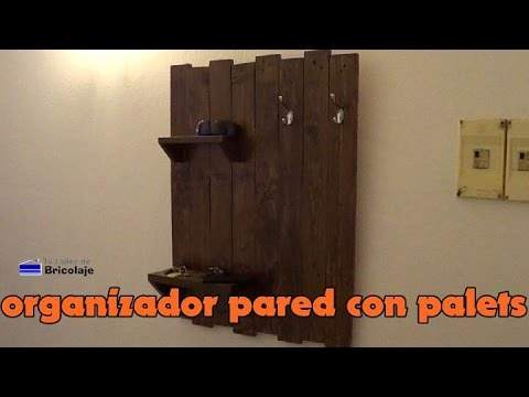C mo hacer un organizador de pared con palets youtube for Pared con palets