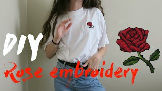 DIY embroidery rose // embroidered t-shirt (easy)