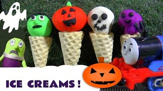 Thomas and Friends fun Spooky Halloween Play Doh Ice Cream with funny Funlings TT4U