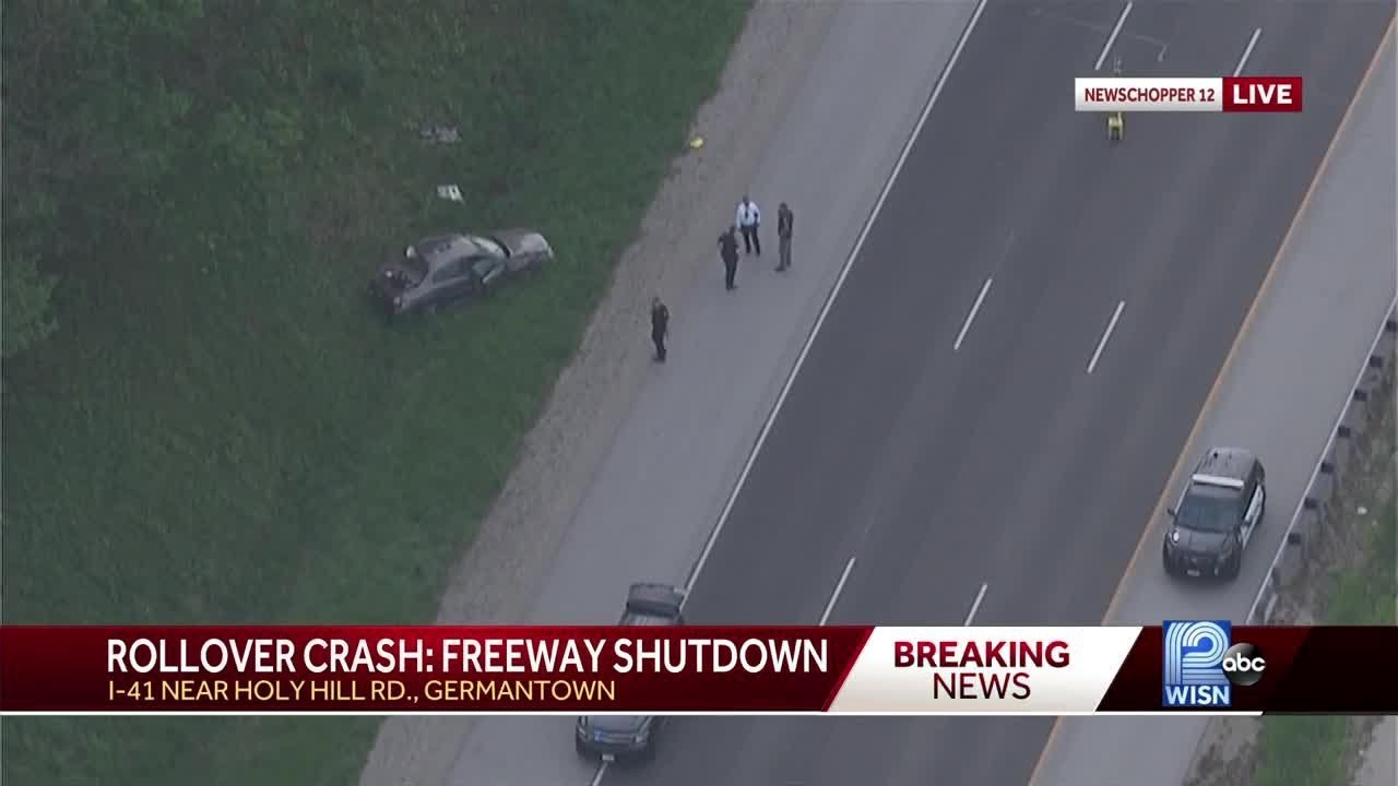 All lanes of I-41 southbound closed at Holy Hill Road