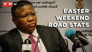 Transport Minister Fikile Mbalula released the Easter weekend road statistics at the Grasmere toll plaza on 8 April 2021.   #ArriveAlive #Roadstats