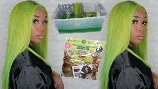 TRYING THE WATER COLOR HAIR DYE METHOD !! LIME GREEN !?   JANET COLLECTION