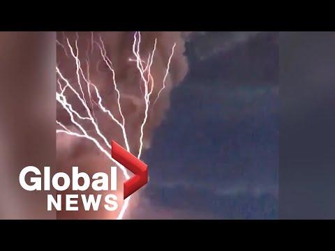 Rare volcanic lightning