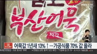 어묵값 1년새 13% 상승…가공식품 70% 값 올라 /…