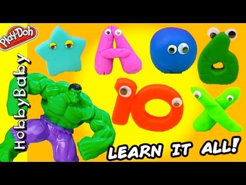 Thumbnail: Hulk Smashes Numbers Letters Colors and Shapes! Play-Doh Hero Learning HobbyBabyTV