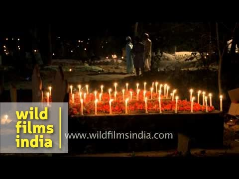 Candlelit graves on Shab-e-barat night - Delhi